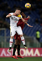 Calcio, Serie A: AS Roma - Benevento, Roma, stadio Olimpico, 11 gennaio 2018.<br /> Roma's Gerson (r) in action with Benevento's Gaetano Letizia (l) during the Italian Serie A football match between AS Roma and Benevento at Rome's Olympic stadium, February 11, 2018.<br /> UPDATE IMAGES PRESS/Isabella Bonotto