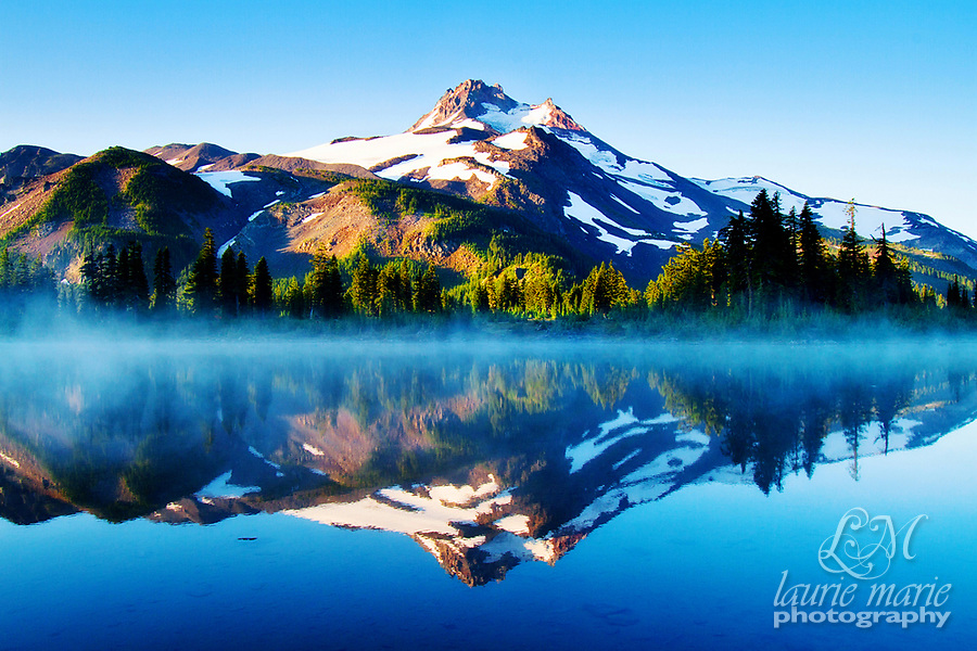 My favorite of Mount Jefferson reflected in misty Russell Lake at sunrise, I have this printed huge.