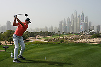 Shane Lowry (IRL) in action on the 8th tee during the first round of the Omega Dubai Desert Classic, Emirates Golf Club, Dubai, UAE. 24/01/2019<br /> Picture: Golffile | Phil Inglis<br /> <br /> <br /> All photo usage must carry mandatory copyright credit (&copy; Golffile | Phil Inglis)