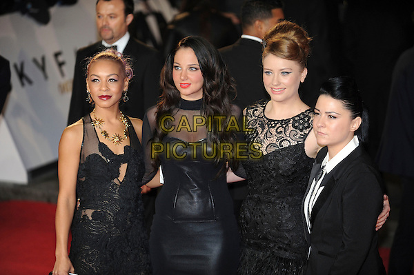 Jade Ellis, Tulisa Contostavlos, Ella Henderson and Lucy Spraggan .'Skyfall' Royal World Film Premiere, Royal Albert Hall, Kensington Gore, London, England..23rd October 2012.half length X Factor contestants black dress lace leather sheer suit .CAP/CAS.©Bob Cass/Capital Pictures.