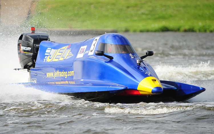 Owen Jelf GBR Jelf Racing - Molgaard - Jelf in action during the F2 World Powerboat Championship race..Powerboat Racing - The UIM F2 World Powerboat Championship of Great Britain - National Watersports Centre, Holme Pierrepont, Nottingham. Sunday 16th September 2012....