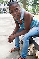 Deborah Leatherberry lives in West Philadelphia, and is seen here in Vernon Park in East Germantown, Philadelphia, Pennsylvania, on Tues., July 26, 2016.