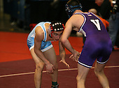 Joe Grippi and Corey Borshoff wrestle at the 125 weight class during the NY State Wrestling Championships at Blue Cross Arena on March 8, 2008 in Rochester, New York.  (Copyright Mike Janes Photography)