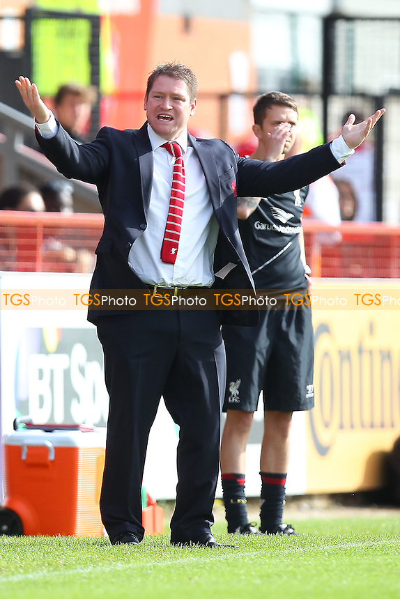 Frustration for Liverpool Ladies head coach Matt Beard - Arsenal Ladies vs Liverpool Ladies - FA Womens Super League Football at Meadow Park, Boreham Wood FC  - 05/10/14 - MANDATORY CREDIT: Gavin Ellis/TGSPHOTO - Self billing applies where appropriate - contact@tgsphoto.co.uk - NO UNPAID USE