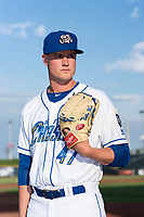 Omaha Storm Chasers pitcher Scott Blewett (47) poses for a photo before a Pacific Coast League game against the Memphis Redbirds at Werner Park on April 26, 2019 in Omaha, Nebraska. (Zachary Lucy/Four Seam Images)