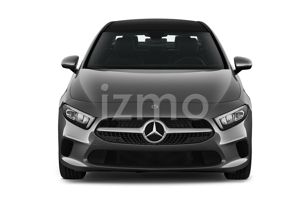 Car photography straight front view of a 2019 Mercedes Benz A Class A 200 4 Door Sedan