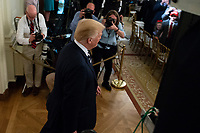 United States President Donald J. Trump enters the room prior to the National Teacher of The Year ceremony in the East Room of the White House in Washington, DC n May 2, 2018. Credit: Alex Edelman / CNP /MediaPunch