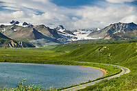 Summit Lake, along the Richardson Highway in isabel pass, gulkana glacier in the distance, Alaska mountain range.