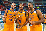 Herbalife Gran Canaria's player Pablo Aguilar, Eulis Baez and Richard Hendrix during the final of Supercopa of Liga Endesa Madrid. September 24, Spain. 2016. (ALTERPHOTOS/BorjaB.Hojas)
