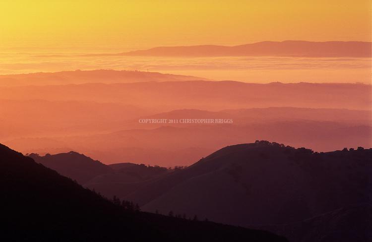 San Rafael mountains at sunset. Santa Barbara County, CA.