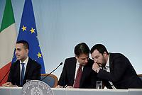 Rom, 20 Ottobre 2018<br /> Luigi Di Maio, Giuseppe Conte,Matteo Salvini.<br /> Palazzo Chigi<br /> Conferenza stampa al termine del Consiglio dei ministri sul Def