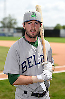 Beloit Snappers shortstop Branden Cogswell (13) poses for a photo before a game against the Clinton LumberKings on August 17, 2014 at Ashford University Field in Clinton, Iowa.  Clinton defeated Beloit 4-3.  (Mike Janes/Four Seam Images)