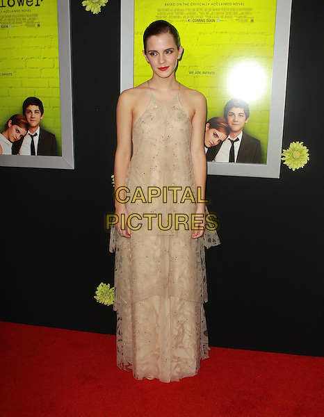 "Emma Watson.Premiere Of Summit Entertainment's ""The Perks Of Being A Wallflower"" Held At ArcLight Cinemas, Hollywood, California, USA..September 10th, 2012.full length beige sleeveless tiered layered layers dress maxi lace tulle .CAP/ADM/KB.©Kevan Brooks/AdMedia/Capital Pictures."
