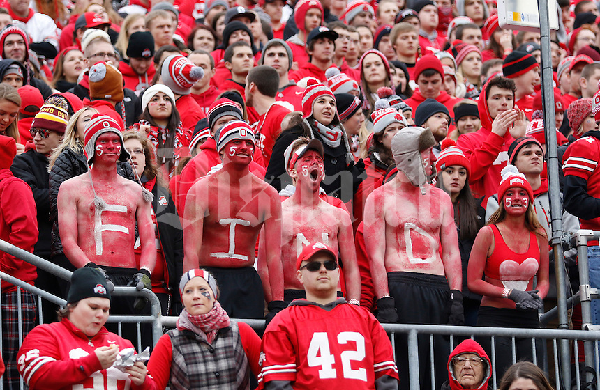 Ohio State fans spell FIND during the second quarter of the NCAA football game against Michigan at Ohio Stadium on Saturday, November 29, 2014. (Columbus Dispatch photo by Jonathan Quilter)