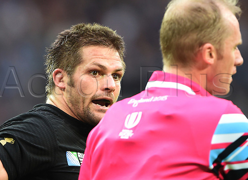 20.09.2015. London, England. Rugby World Cup. New Zealand versus Argentina.  Richie McCaw and referee Wayne Barnes.  Wembley Stadium in London, UK.