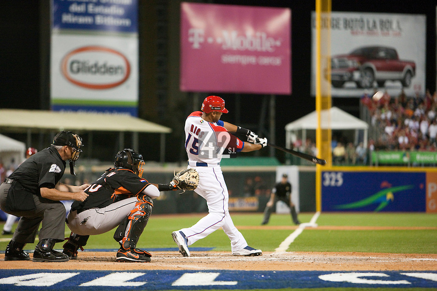 9 March 2009: #19 Alex Rios of Puerto Rico hits the ball during the 2009 World Baseball Classic Pool D game 4 at Hiram Bithorn Stadium in San Juan, Puerto Rico. Puerto Rico wins 3-1 over Netherlands