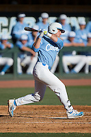 Michael Busch (15) of the North Carolina Tar Heels follows through on his swing against the Kentucky Wildcats at Boshmer Stadium on February 17, 2017 in Chapel Hill, North Carolina.  The Tar Heels defeated the Wildcats 3-1.  (Brian Westerholt/Four Seam Images)