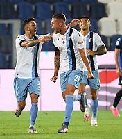 24th June 2020, Bergamo, Italy; Seria A football league, Atalanta versus Lazio;  Lazios Sergej Milinkovic-Savic  celebrates his goal with teammates