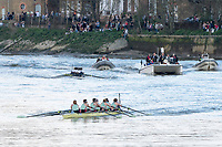 Mortlake/Chiswick, GREATER LONDON. United Kingdom. 2017 Women's Boat Race winners CUWBC, approaching the finish line.  The Championship Course, Putney to Mortlake on the River Thames.<br /> <br /> <br /> Sunday  02/04/2017<br /> <br /> [Mandatory Credit; Peter SPURRIER/Intersport Images]