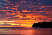 Sunset over the lagoon at Teahupoo, Tahiti, Monday May 4, 2009. Photo: joliphotos.com