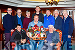 Brian Clarke receiving the An Post Golf Society end of year hamper in the Killarney Avenue Hotel on Saturday night front row l-r: Connoe Kelly, Brian Clarke, Noel McCrathy. Back row: Muiris Healy, Seamus Mannix, Tom Ashe, Adam O'Reilly, Peter O'Brien, Malachy Walsh, Tadhg McCarthy