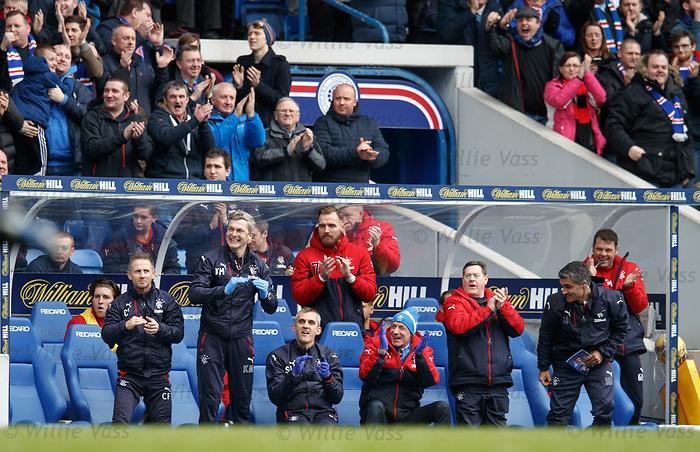 Rangers bench as the team open the scoring