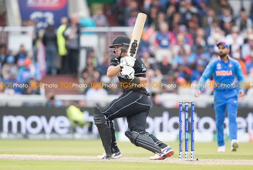 Ross Taylor (New Zealand) pulls square of the wicket during India vs New Zealand, ICC World Cup Semi-Final Cricket at Old Trafford on 9th July 2019