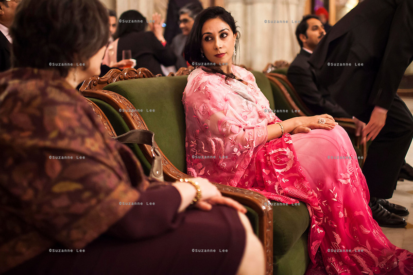 Princess Diya Kumari of the Jaipur Royal Family (center) seated at the violin recital by Australian violinist Niki Vasilakis at the OzFest Gala Dinner in the Jaipur City Palace, in Rajasthan, India on 10 January 2013. Photo by Suzanne Lee