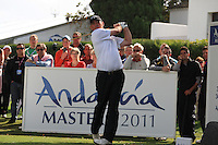 Thomas Bjorn (DEN) during the 1st day at the  Andalucía Masters at Club de Golf Valderrama, Sotogrande, Spain. .Picture Fran Caffrey www.golffile.ie