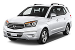 2014 Ssangyong Rodius Sapphire 5 Door Minivan Angular Front stock photos of front three quarter view