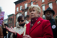 "U.S. Representative Carolyn McCarthy attends the ""Too Many Victims"" march and rally in Harlem in New York on Sunday, January 8, 2012 on the one year anniversary of the Tucson shooting of  U.S. Representative Gabrielle Giffords and other victims. The event remembered all victims of gun violence with the lighting of candles. (© Frances M. Roberts)"