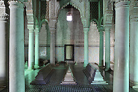 Hall of the twelve columns, Saadian tombs, Medina, Marrakech, Morocco. The tombs, near the Kasbah mosque, date from the reign of Sultan Ahmad al-Mansur, 1578-1603, and contain the mausoleums of members of the Saadi dynasty. The hall of the twelve columns contains the tomb of the Sultan's son Ahmad al-Mansur and contains a stele carved from cedar wood and worked with stucco. The monuments are of Italian Carrara marble and the walls are covered in glazed tiles and carved Koranic verses. Picture by Manuel Cohen