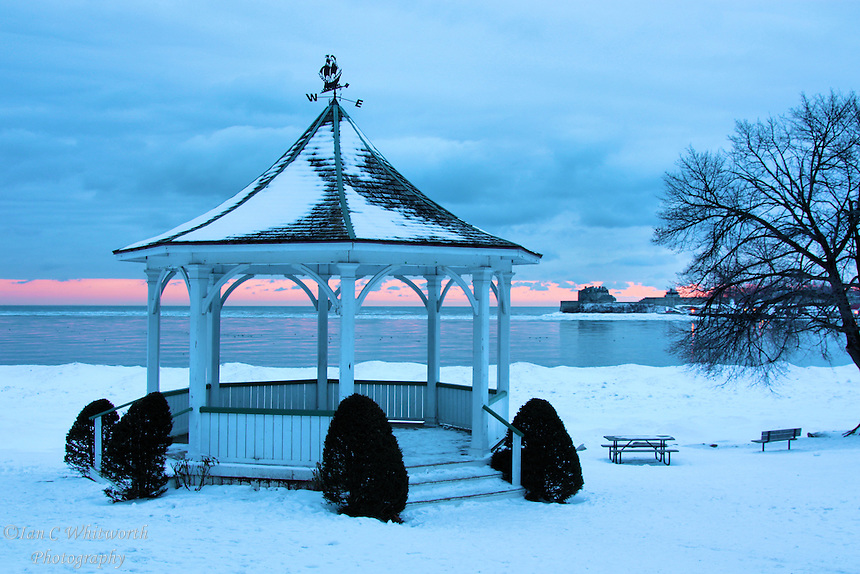 Winter dawn view of the gazebo at Niagara on the Lake