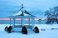 Winter dawn view of the gazebo at Niagara on the Lake