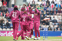 All smiles and high fives as Sheldon Cottrell (West Indies) celebrates the wicket of Aiden Markram  (South Africa) during South Africa vs West Indies, ICC World Cup Cricket at the Hampshire Bowl on 10th June 2019