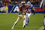 December 7, 2013  (Charlotte, North Carolina)  Florida State Seminoles wide receiver Kenny Shaw #81 runs the ball against the Duke Blue Devils in the 2013 ACC Championship game.  (Photo by Don Baxter/Media Images International)