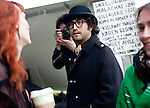 "Sean Lennon congratulated Karen Elson, former supermodel and wife of the White Stripes' Jack White, on launching her music career with an album called ""The Ghost Who Walks."" Elson performed in an unofficial showcase at the Press Here presents party during SXSW at the French Legation in Austin, Texas on Saturday, March 20, 2010..."