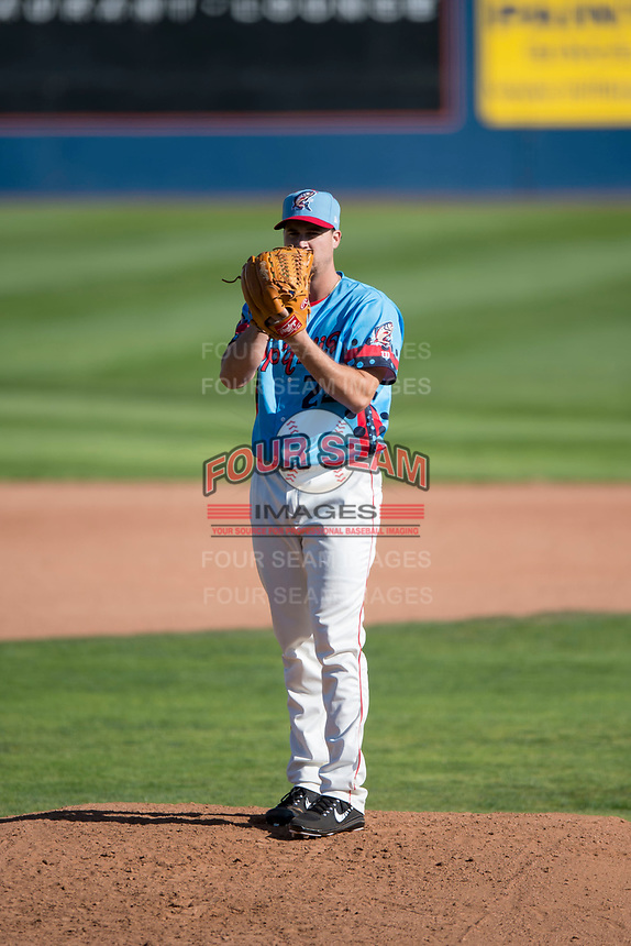 Spokane Indians starting pitcher Chi Chi Gonzalez (22) looks in for the sign in a rehab assignment during a Northwest League game against the Vancouver Canadians at Avista Stadium on September 2, 2018 in Spokane, Washington. The Spokane Indians defeated the Vancouver Canadians by a score of 3-1. (Zachary Lucy/Four Seam Images)