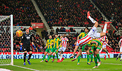 9th February 2019, bet365 Stadium, Stoke-on-Trent, England; EFL Championship football, Stoke City versus West Bromwich Albion; Danny Batth of Stoke City goes flying through the air on the back of Craig Dawson of West Bromwich Albion