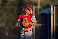 AZL Reds catcher Stuart Turner (32) in a rehab assignment during an Arizona League game against the AZL Cubs 2 at Sloan Park on June 18, 2018 in Mesa, Arizona. AZL Cubs 2 defeated the AZL Reds 4-3. (Zachary Lucy/Four Seam Images)