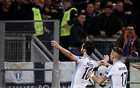 Europa League quarter-final 1st leg <br /> S.S. Lazio - FC Salzburg  Olympic Stadium Rome, April 5, 2018.<br /> Lazio's Marco Parolo (l) celebrates after scoring with his teammates Ciro Immobile (r) during the Europa League match between Lazio and Salzburg at Rome's Olympic stadium, April 5, 2018.<br /> UPDATE IMAGES PRESS/Isabella Bonotto
