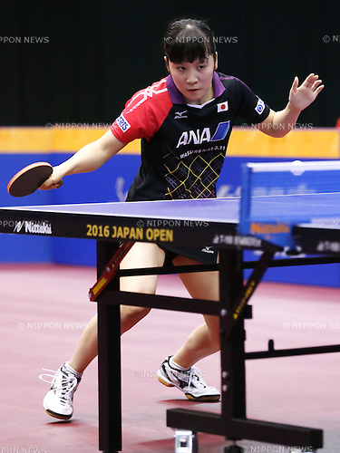 Miu Hirano (JPN), JUNE 17, 2016 - Table Tennis : ITTF World Tour, Japan Open 2016 <br /> Women's singles <br /> match at Tokyo Metropolitan Gymnasium, Tokyo, Japan. (Photo by Sho Tamura/AFLO SPORT)