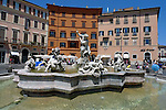 Fontana di Nettuno (The Fountain of Neptune) located at the northern end of the Piazza Navona in the Parione district of Rome.The basin part of the fountain was designed by Giacomo Della Porta in 1574 the statues were added in the 19th century.