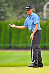 29 August 2009: Webb Simpson reacts to a putt during the third round of The Barclays PGA Playoffs at Liberty National Golf Course in Jersey City, New Jersey.