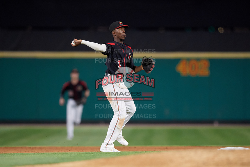 Rochester Red Wings shortstop Nick Gordon (1) throws to first base during a game against the Lehigh Valley IronPigs on September 1, 2018 at Frontier Field in Rochester, New York.  Lehigh Valley defeated Rochester 2-1.  (Mike Janes/Four Seam Images)