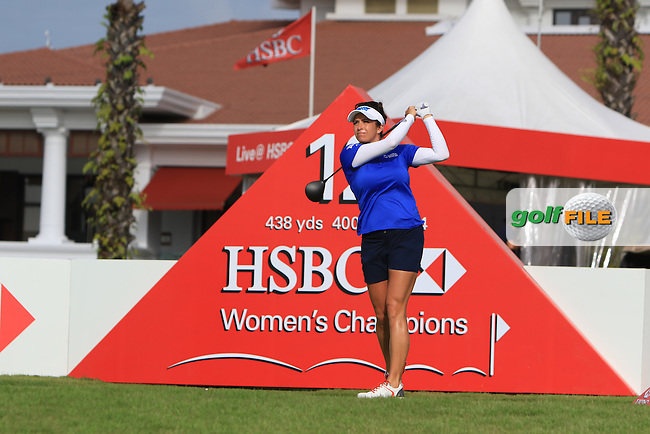 Gerina Piller (USA) on the 12th tee during Round 2 of the HSBC Women's Champions on Friday 3rd March 2017.<br /> Picture:  Thos Caffrey / Golffile