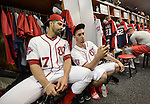VIERA, FL-  FEBRUARY 26:  Gio Gonzalez and name of the Washington Nationals take a selfie in the clubhouse after practice during the Washington Nationals Spring Training at Space Coast Stadium in Viera, FL (Photo by Donald Miralle) *** Local Caption ***