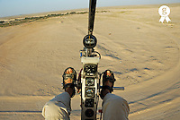 Microlite plane pilot, flying over Sahara desert (Licence this image exclusively with Getty: http://www.gettyimages.com/detail/85071239 )