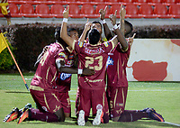 IBAGUÉ - COLOMBIA, 15-09-2017: Jugadores del Deportes Tolima celebran después de anotar un gol a Patriotas FCdurante partido por la fecha 12 de la Liga Águila II 2017 jugado en el estadio Manuel Murillo Toro de Ibagué. / Players of Deportes Tolima celebrate after scoring a goal to Patriotas FCduring match for date 12 of the Aguila League II 2017 played at Manuel Murillo Toro stadium in Ibague city. Photo: VizzorImage / Juan Carlos Escobar / Cont