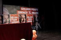 Milano: sala stampa pochi minuti prima della conferma dell'elezione di Giuliano Pisapia come nuovo sindaco di Milano..Milan: press conference of Giuliano Pisapia the new Mayor of Milan..Pisapia won the local election. After 18 years the centre-left party win the election in the city of Silvio Berlusconi.